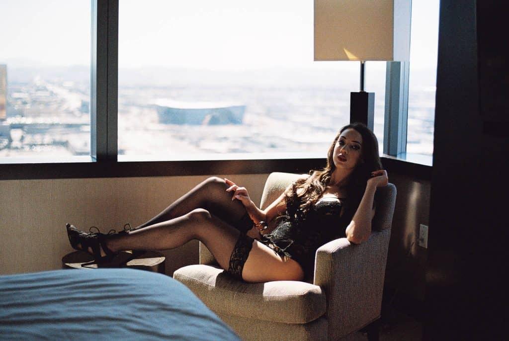boudoir session shot on film at the Vdara resort in las vegas by jennifer james of supernova boudoir