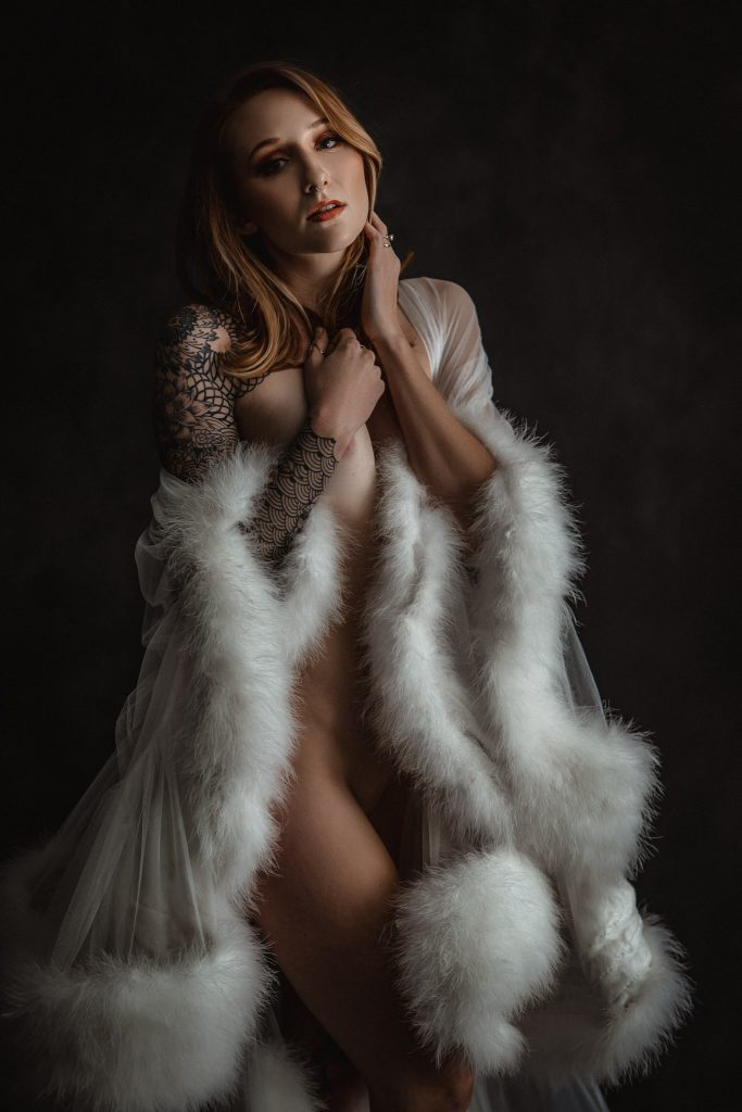 fine art nude portrait of a girl in a white robe by DC boudoir photographer Jennifer James