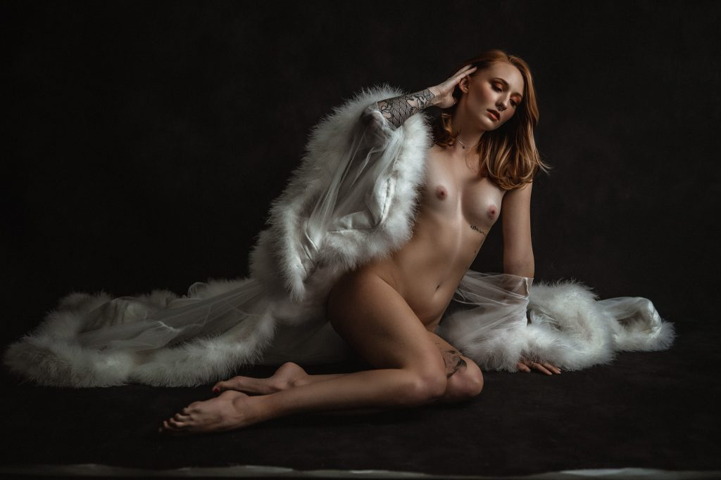 fine art nude portrait of a girl in a white robe